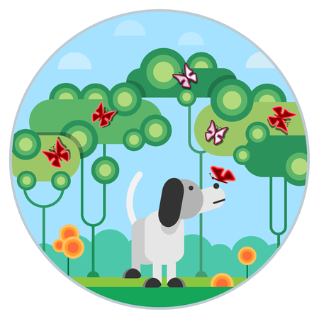 Dog and fly in the park, Vector illustration. Illustration