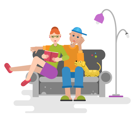 Man, woman and dog sitting on the couch with book and cigarette.