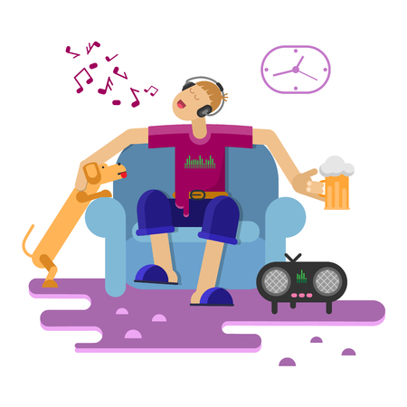 Man sitting on couch, drinking beer and singing. Flat design style. Vector illustration.