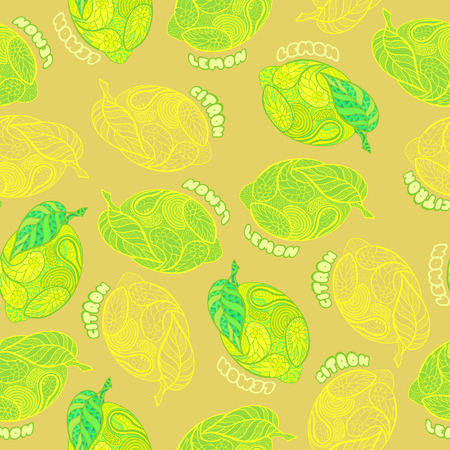 Lemon seamless pattern. Hand drawn. Doodle style. Vector illustration.