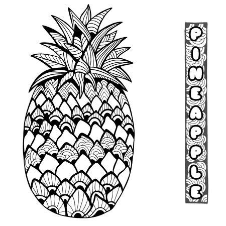 dietary: Pineapple. Doodle and zentangle style. Hand drawn. Vector illustration. Illustration