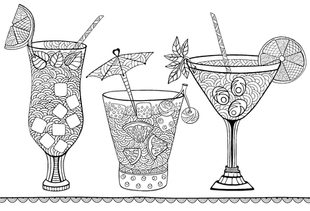 Summer fruit cocktails. Doodle and zentangle style. Hand drawn coloring book. Vector illustration.