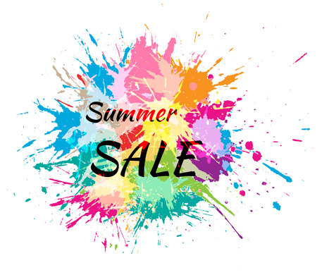 Color spots. Summer sale text. Vector illustration.