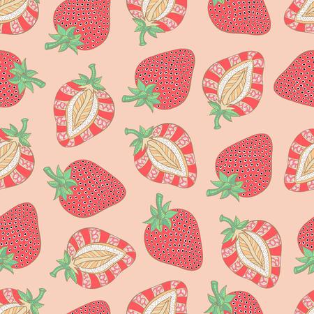 Strawberry seamless pattern. Hand drawn. Vector illustration.