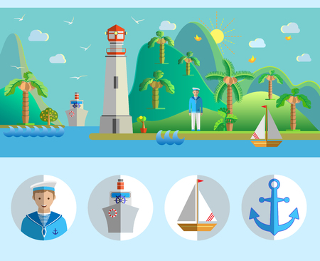Flat design landscape portrait with port, lighthouse, sailing boat, seagulls, sailor, island, palm trees, steamer and sea. Vector illustration. Illustration