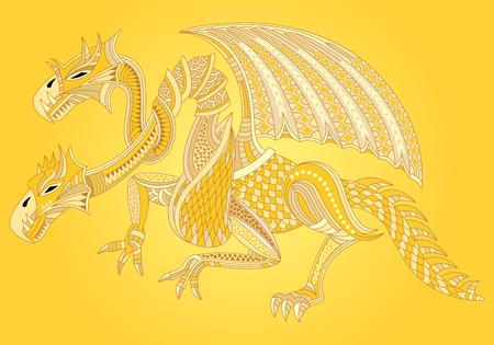 Beautiful golden dragon. Oriental style. Vector illustration.