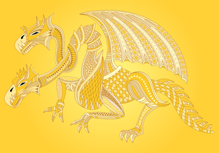 Beautiful golden dragon. Oriental style. Vector illustration. Illustration