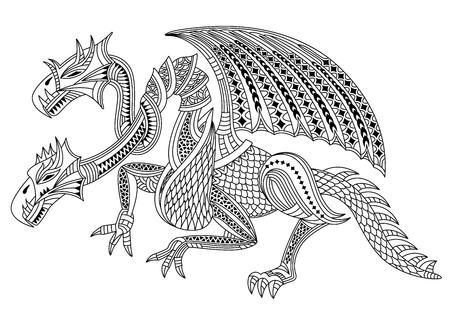 Bellissimo drago a due teste. Zentangle e stile doodle. Libro da colorare o tatuaggio. Illustrazione vettoriale Archivio Fotografico - 81712768