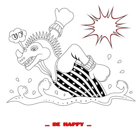 Dino on the run. Coloring book. Cartoon style. Vector illustration. Vektorové ilustrace