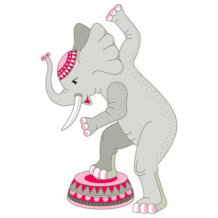 Dancing cute elephant. Cartoon style. Vector illustration.