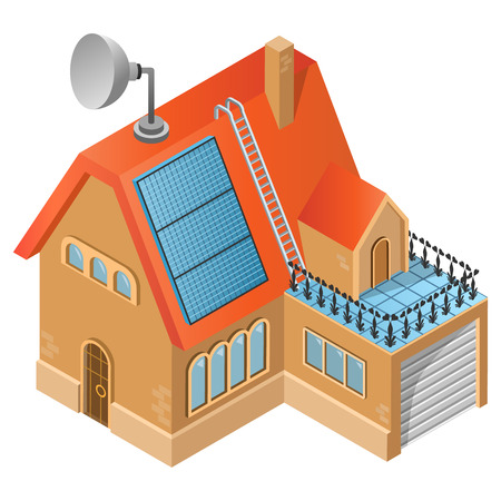 House with solar panel. 3D isometric view. Vector illustration.