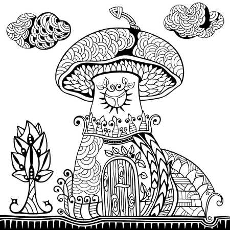 Mushroom house, staircase, tree and cloud. Doodle and style. Hand drawn coloring book. Vector illustration. Ilustração
