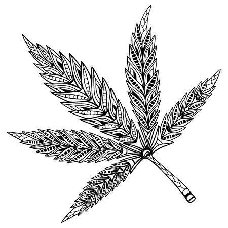 Cannabis leaf. Doodle and zentangle style. Hand drawn coloring book. Vector illustration. Vettoriali
