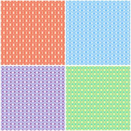 Purple, blue, orange and green collection ornamental seamless patterns for making damask wallpapers and textile print. Vintage style. Vector illustration. Illustration