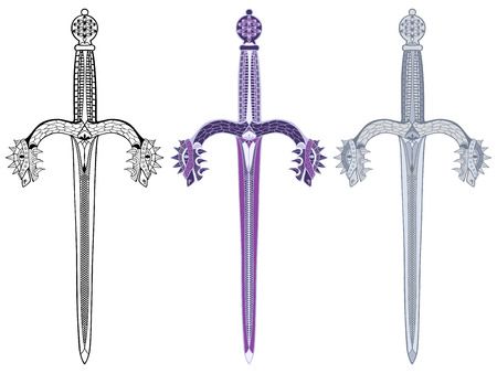 Medieval decorative dagger with dragon heads. Anti stress coloring book or tattoo. Vector illustration.