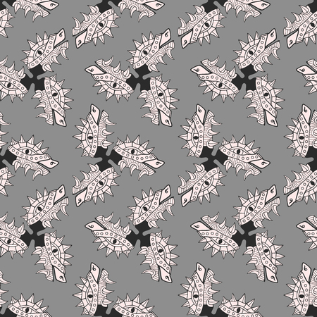 Heads of dragon. Comic background or texture. Monochrome seamless pattern. Vector illustration.