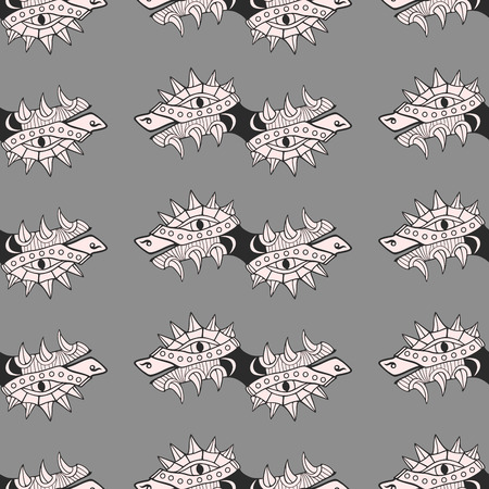 Heads of dragon. Comic background or texture. Seamless pattern. Vector illustration.