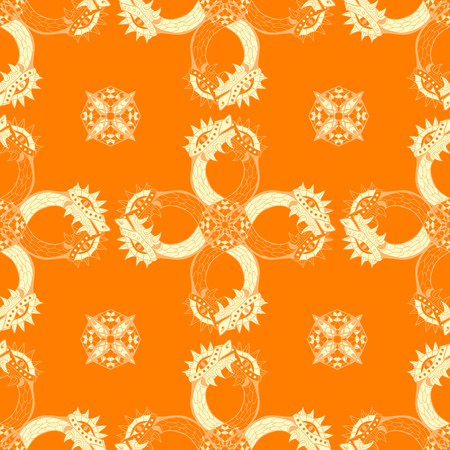 Gold heads of dragon. Circle ornamental seamless pattern. Vector illustration. Vektorové ilustrace
