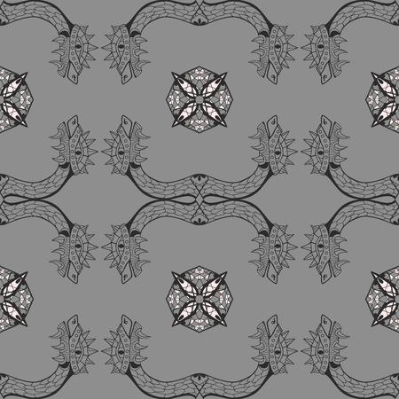 Heads of dragon. Square ornamental seamless pattern. Vector illustration.
