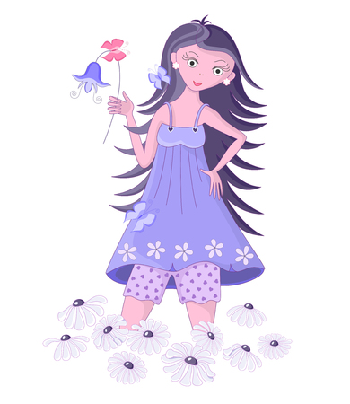 Girl among flowers. Cartoon character. Isolated on white background. Vector illustration.