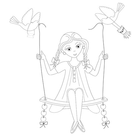 Girl on the swing. Coloring book. Vector illustration.
