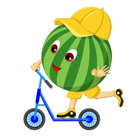 Watermelon on a scooter. Cartoon character. Isolated on white background. Vector illustration. 일러스트