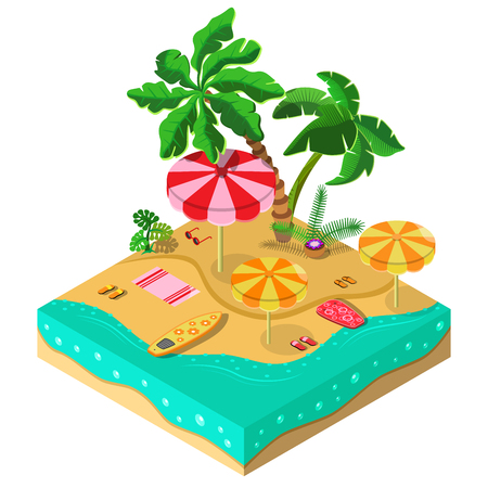 Tropical island. Sea, palm, surfboard, parasol and sandals. 3D isometric view. Vector illustration. Illustration