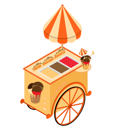 Ice cream street food. 3D isometric view. Vector illustration.