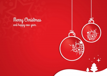 happy new year card: Red Christmas Background