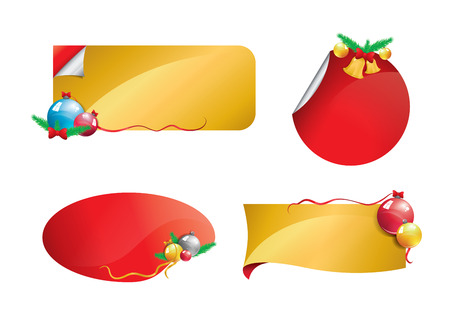 Christmas banners gold and red set 2 Vector