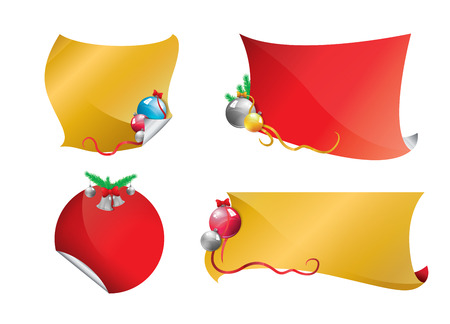 Christmas banners gold and red set  Vector
