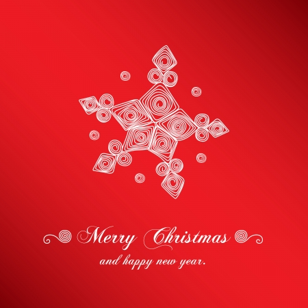 Christmas handmade snowflake on red background. Vector