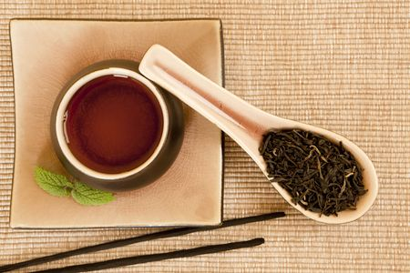 Black tea still life with incense sticks and mint leave. Stock Photo - 7741562