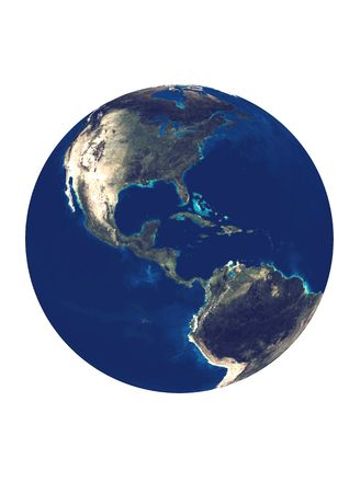 Earth globe with Americas on white backround. Stock Photo - 7857440