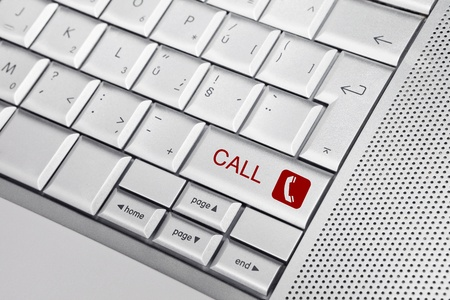 Silver keyboard with phone icon and CALL text on keys. Telemarketing concept. Stock Photo - 8956746