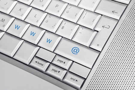 Silver keyboard with www and @ keys. Internet concept. Stock Photo - 8956751