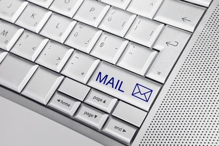 Silver keyboard with envelope icon and text MAIL on a key. Business concept Stock Photo - 8956797
