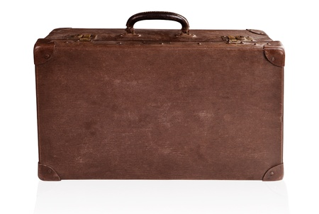 antique suitcase: Old antique brown leather suitcase isolated on white.