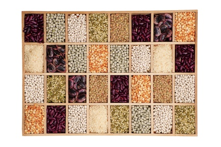 leguminous: Variation of different beans, lentils and peas in wooden box. Leguminous collection.