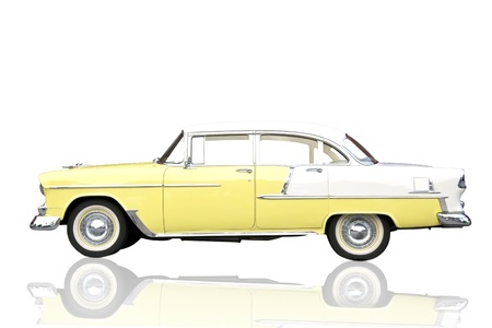 custom car: Old antique shiny yellow metallic car isolate on white