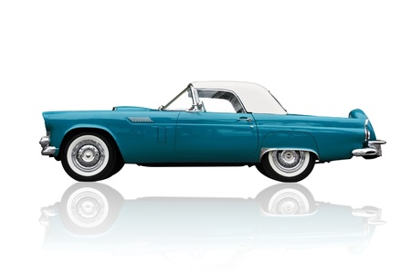 coche clásico: Brillante met�lica antigua retro autom�viles estadounidenses aisladas en ave Thunder Ford blanca.
