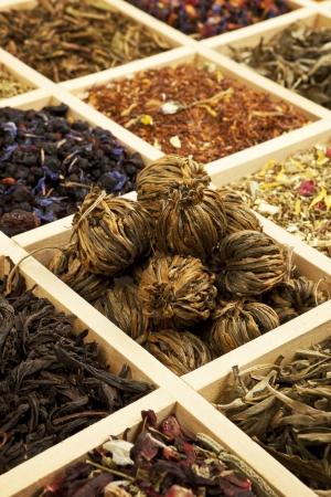 Tea collection. Various tea sorts in wooden box. Stock Photo - 9174900