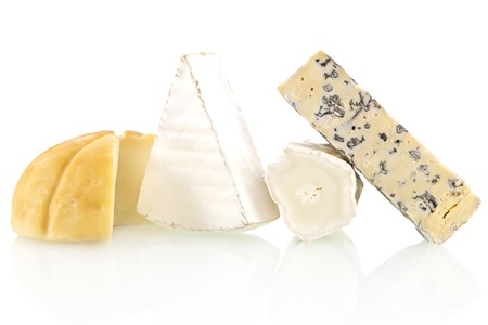 Various cheese sorts isolated on white background. Cheese variation. photo
