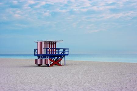 beach hut: Lifeguard cabin on empty beach, Miami Beach, Florida, USA, safety concept.