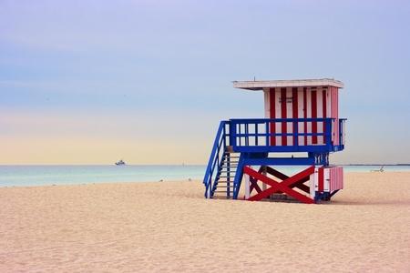 lifeguard tower: Lifeguard cabin on empty beach, Miami Beach, Florida, USA, safety concept.