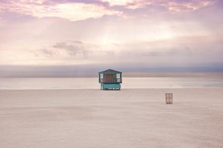 Lifeguard cabin on empty beach in Miami Florida, USA. Miami beach. Stock Photo - 9420691