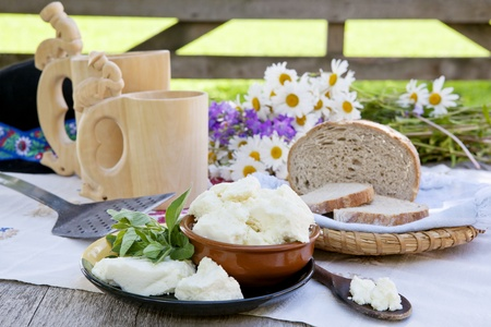wood agricultural: Traditional cheese on organic farm with herbs and wooden cups with traditional slovak milk product zincica.