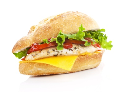 Ciabatta chicken sandwich with fresh salad and cheese isolated on white.