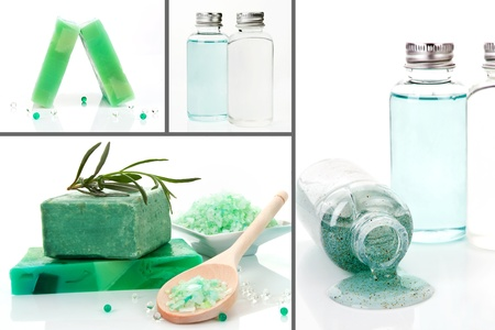 Luxurious body care products background. Soap, bath salt and shampoo and peeling. Collage. photo