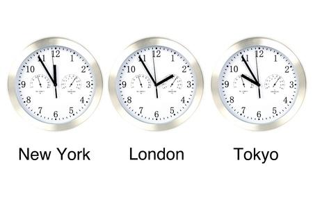 zone: Wereld tijd. Tijd in Londen, New York en Tokio, drie horloges geïsoleerd op wit.